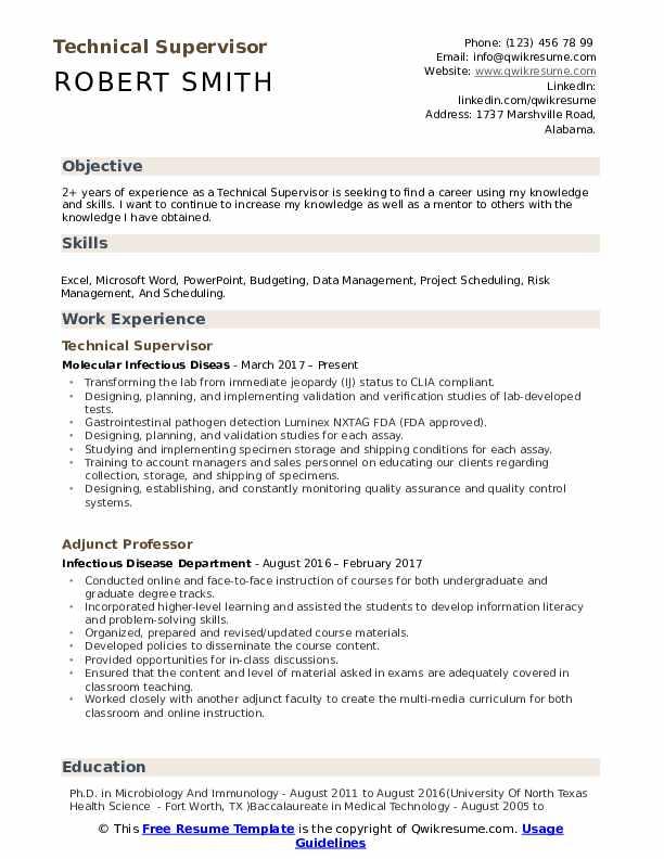 Technical Supervisor Resume Sample