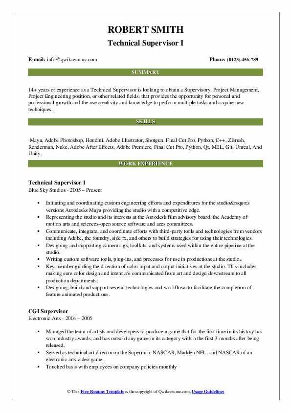 Technical Supervisor I Resume Model