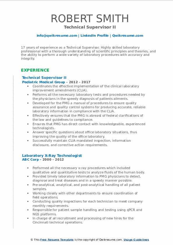 Technical Supervisor II Resume Sample