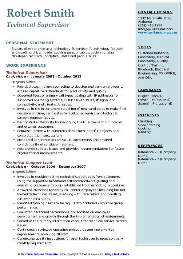 Technical Supervisor Resume Model