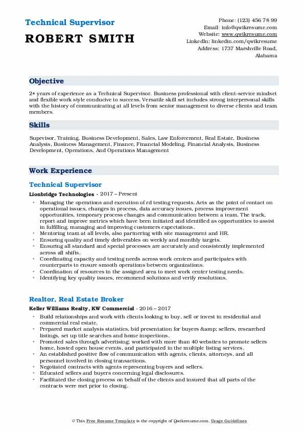 Technical Supervisor Resume Example