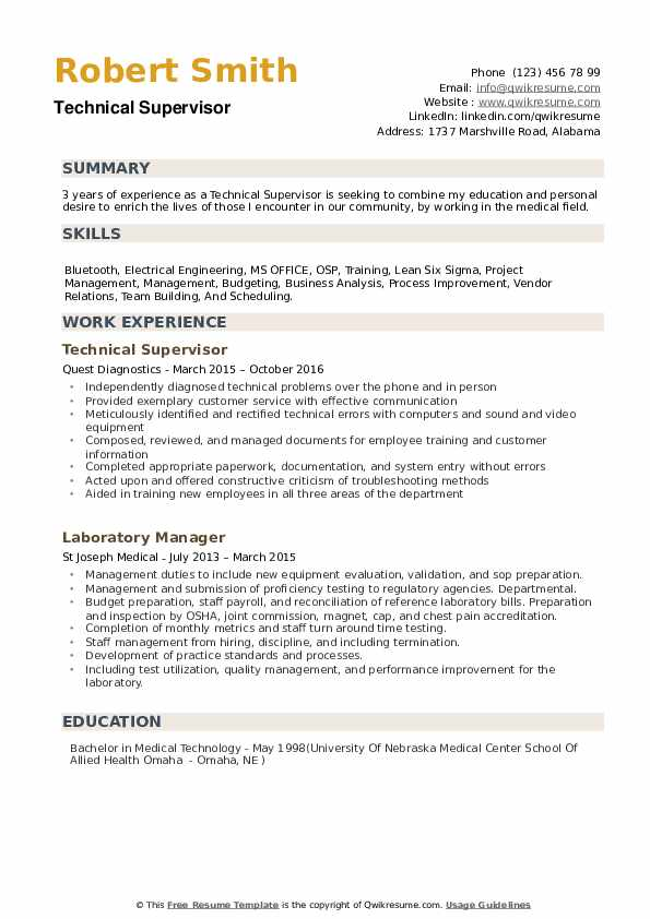 technical supervisor resume samples