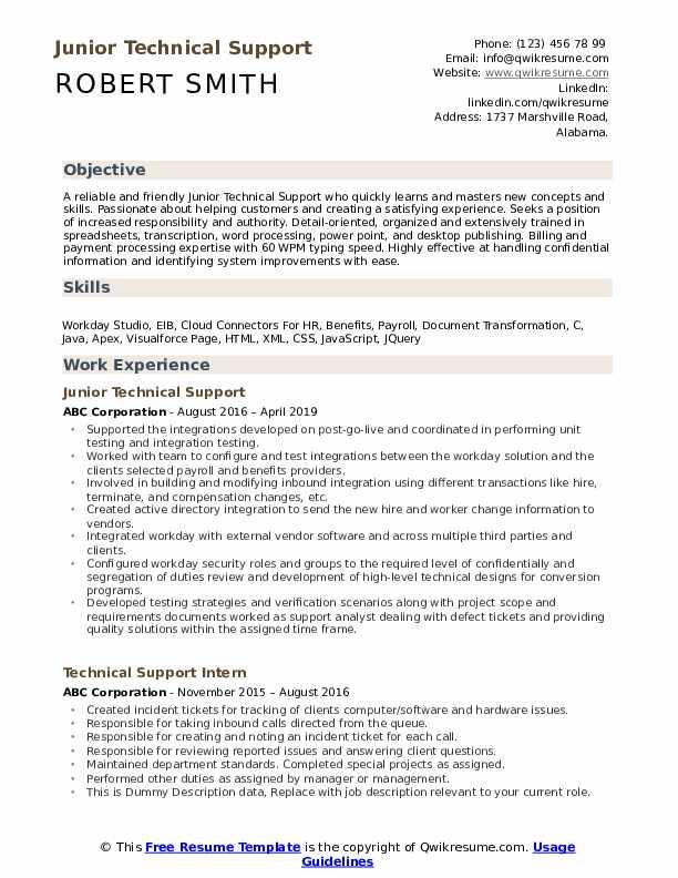 Junior Technical Support Resume Sample