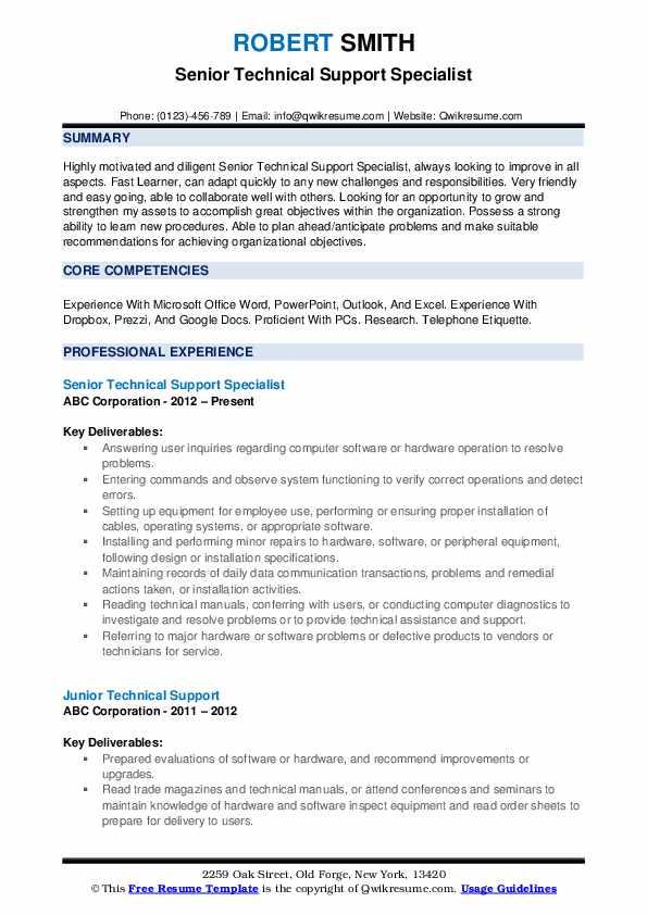 Senior Technical Support Specialist Resume Model
