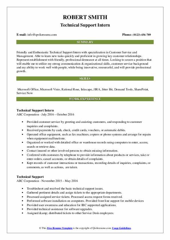 Technical Support Intern Resume Example