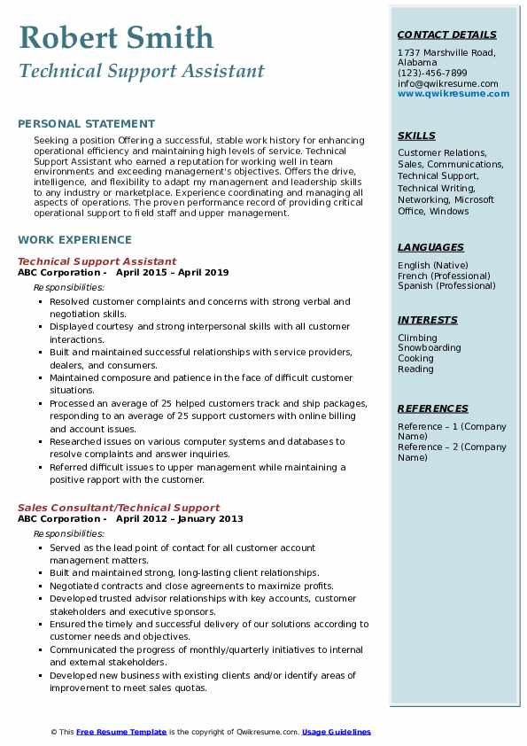 Technical Support Assistant Resume Format