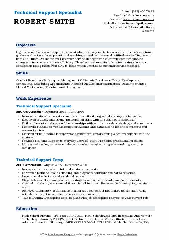 Technical Support Specialist Resume Model