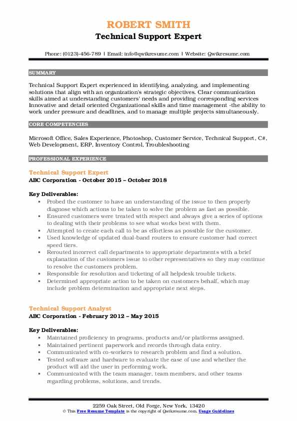 Technical Support Expert Resume Template