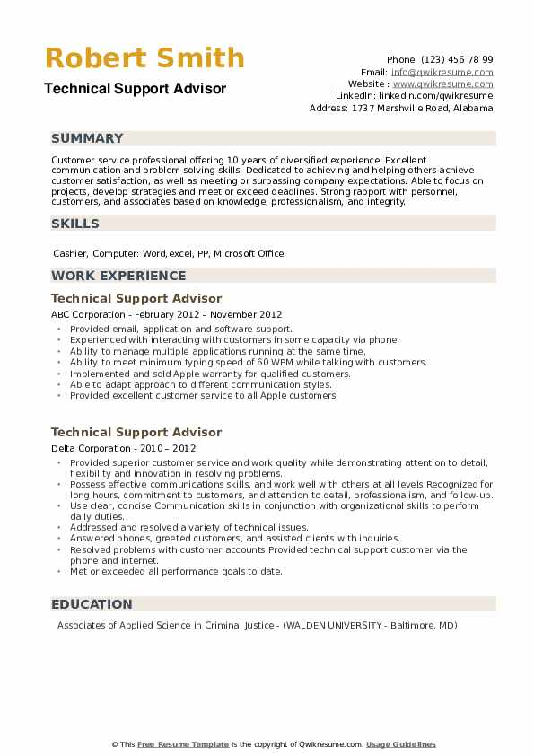 Technical Support Advisor Resume example