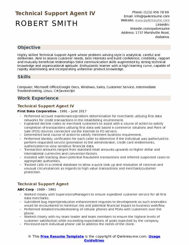 Technical Support Agent IV Resume Template