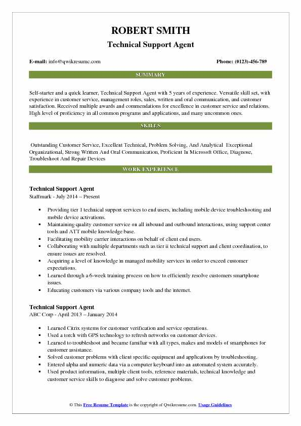 technical support agent resume samples