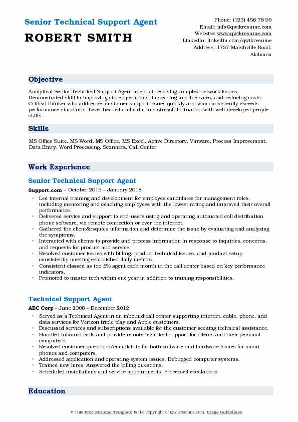 Senior Technical Support Agent Resume Example