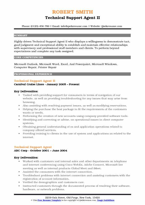 Technical Support Agent II Resume Sample