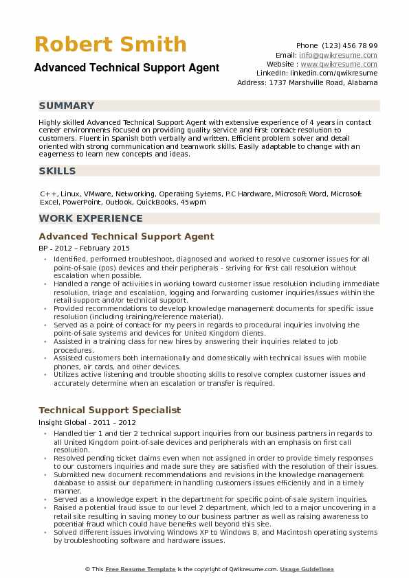 Technical Support Agent Resume Samples | QwikResume