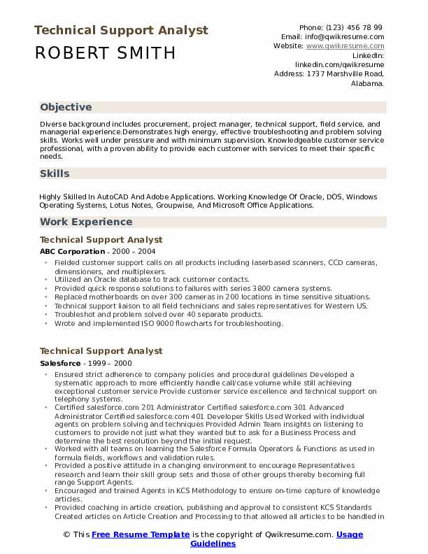 Technical Support Analyst Resume Format