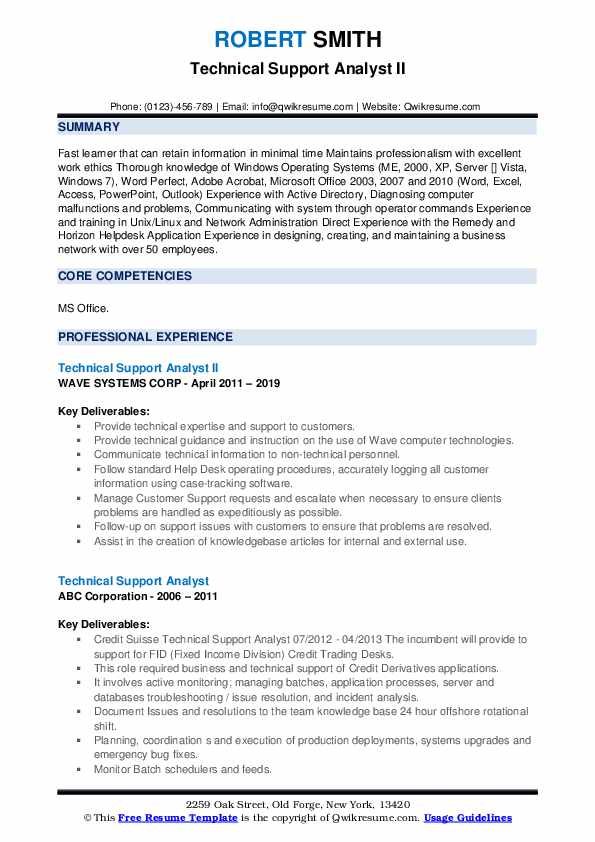 Technical Support Analyst II Resume Format