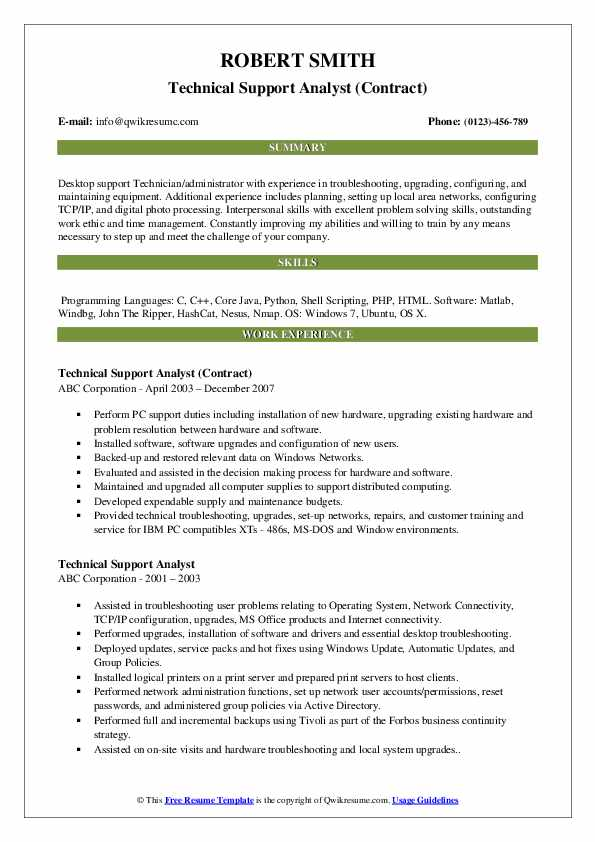 Technical Support Analyst (Contract) Resume Example