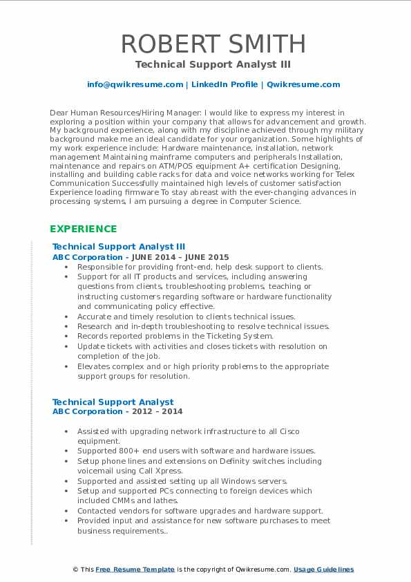 Technical Support Analyst III Resume Model