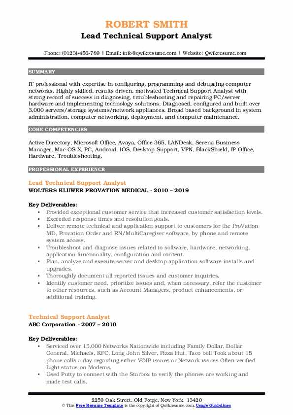 Lead Technical Support Analyst Resume Example
