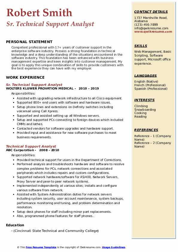 Sr. Technical Support Analyst Resume Template