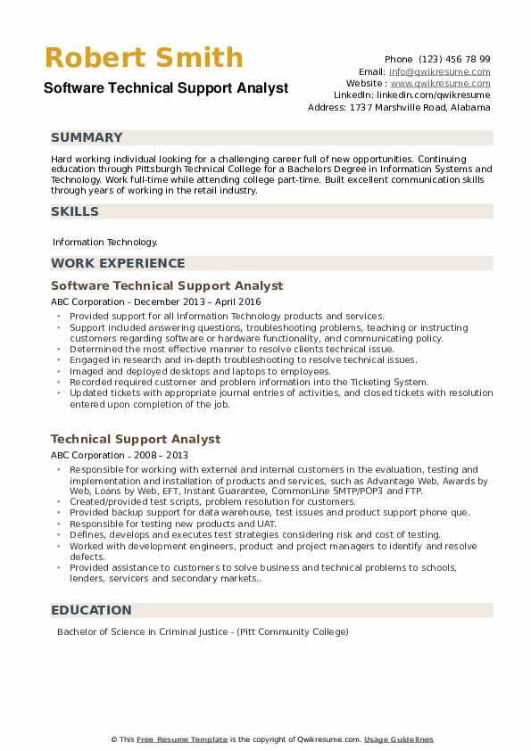 Software Technical Support Analyst Resume Sample