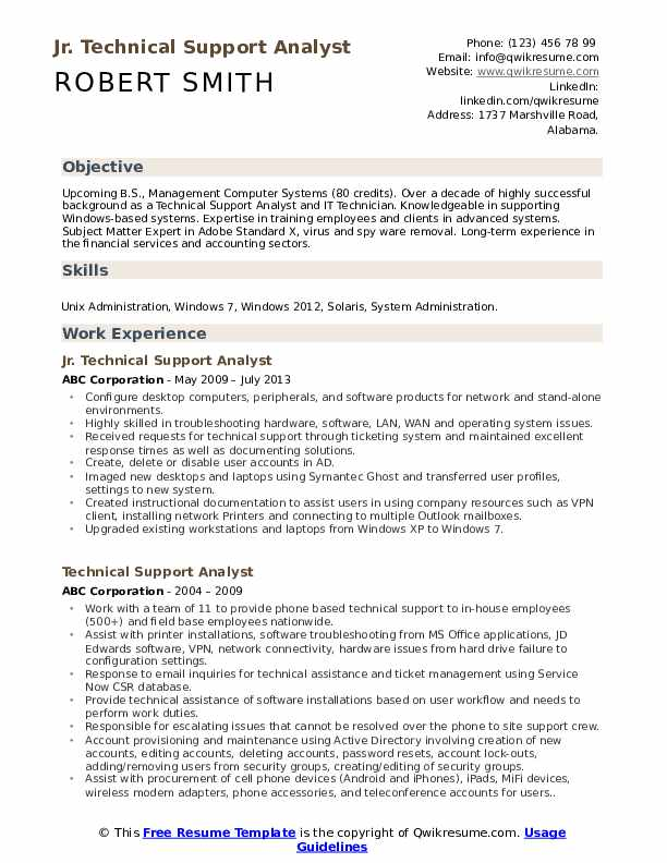 Jr. Technical Support Analyst Resume Sample