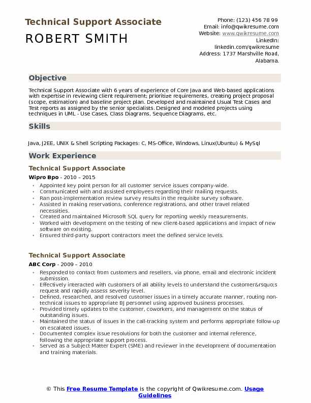 Technical Support Associate Resume Format