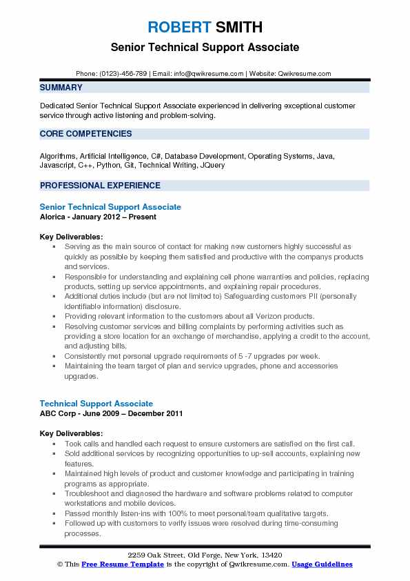 Senior Technical Support Associate Resume Example
