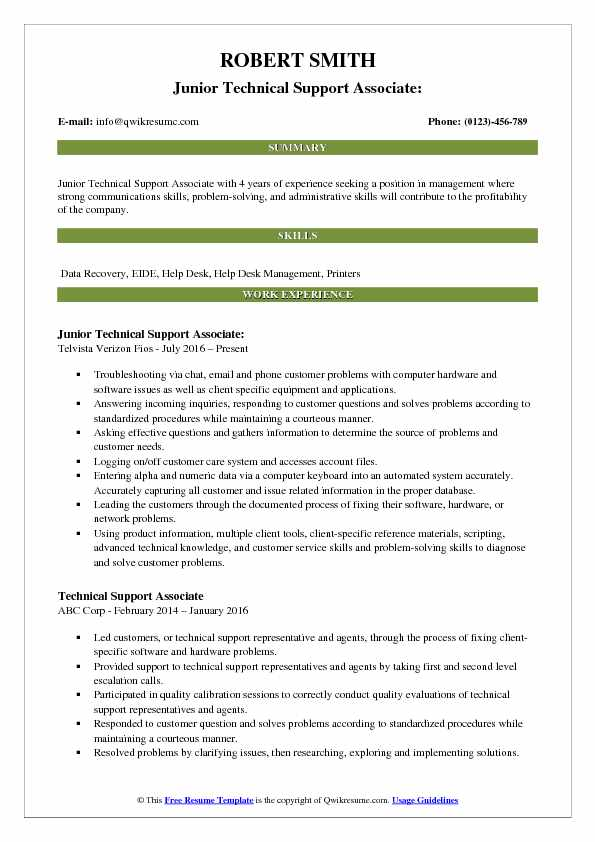 Junior Technical Support Associate: Resume Sample