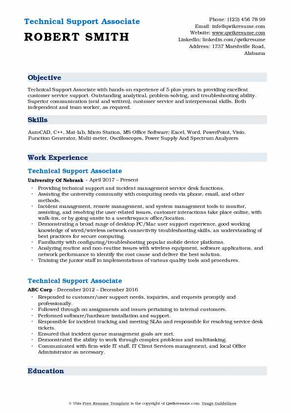 Technical Support Associate Resume Model