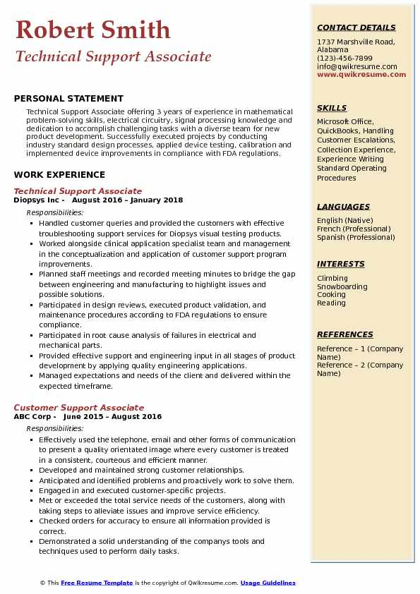 Technical Support Associate Resume Template