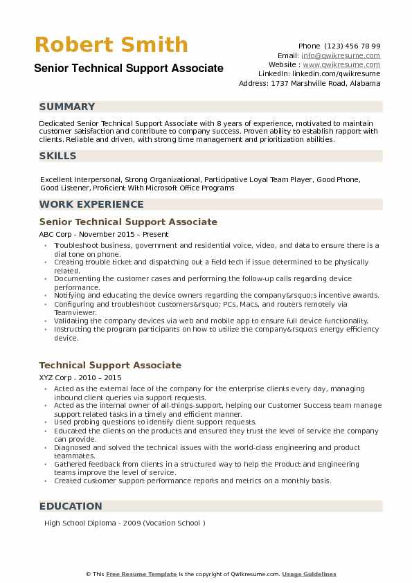 Senior Technical Support Associate Resume Format