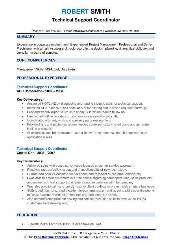 Technical Support Coordinator Resume example