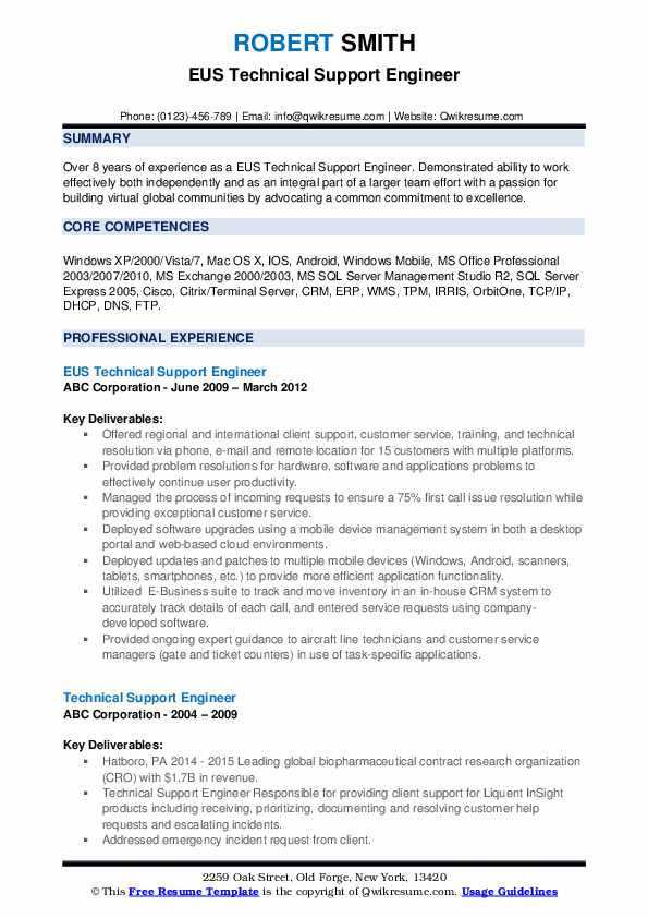 EUS Technical Support Engineer Resume Example
