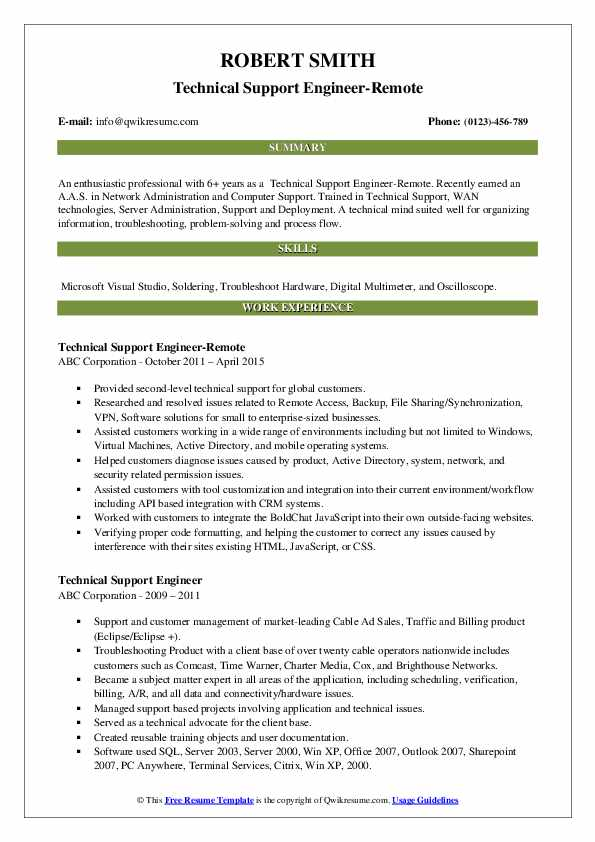 Technical Support Engineer-Remote Resume Sample