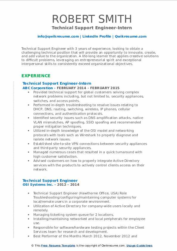 Technical Support Engineer-Intern Resume Template