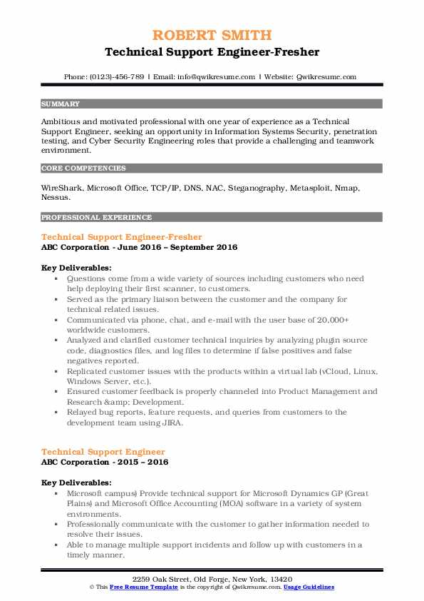 Technical Support Engineer-Fresher Resume Example