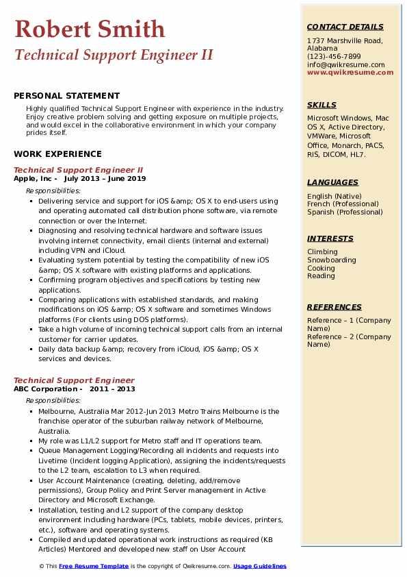 Technical Support Engineer II Resume Model