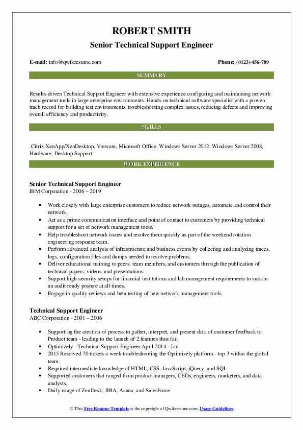 Senior Technical Support Engineer Resume Format