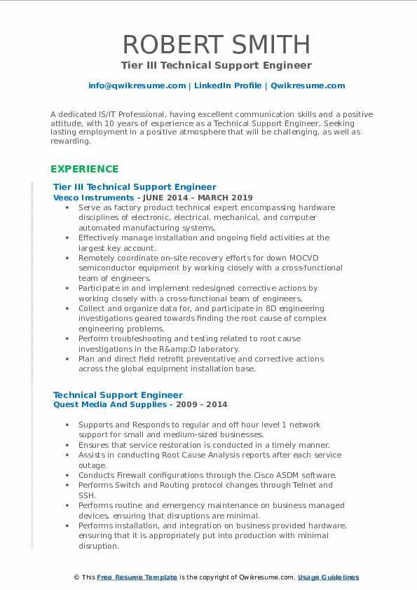 Tier III Technical Support Engineer Resume Example