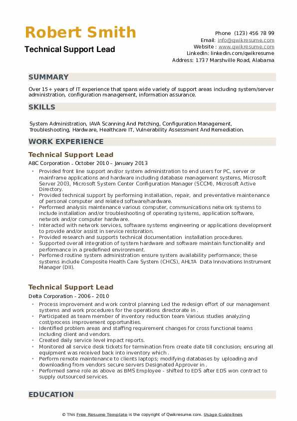 Technical Support Lead Resume example