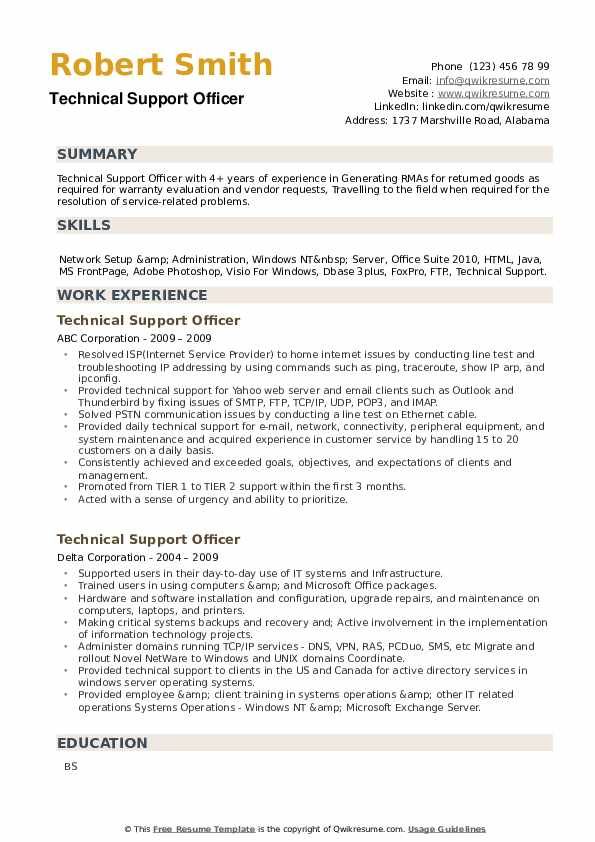Technical Support Officer Resume example