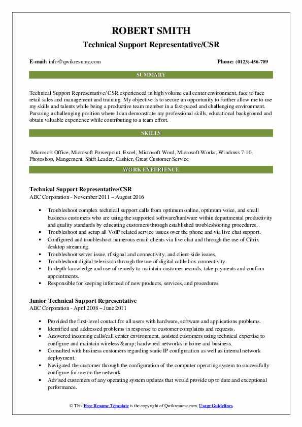 Technical Support Representative/CSR Resume Sample