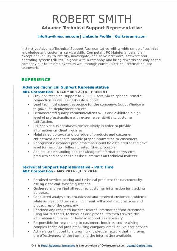 Advance Technical Support Representative Resume Example