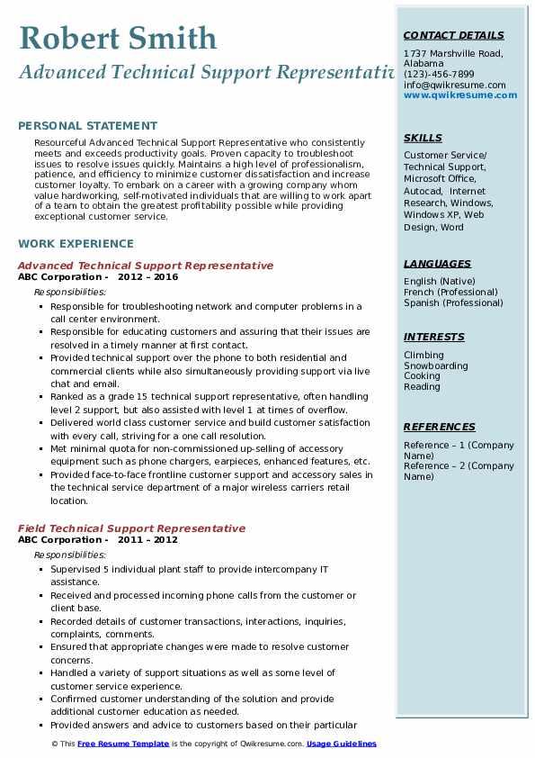 Advanced Technical Support Representative Resume Example