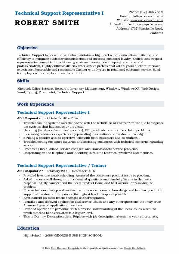 Technical Support Representative I Resume Model