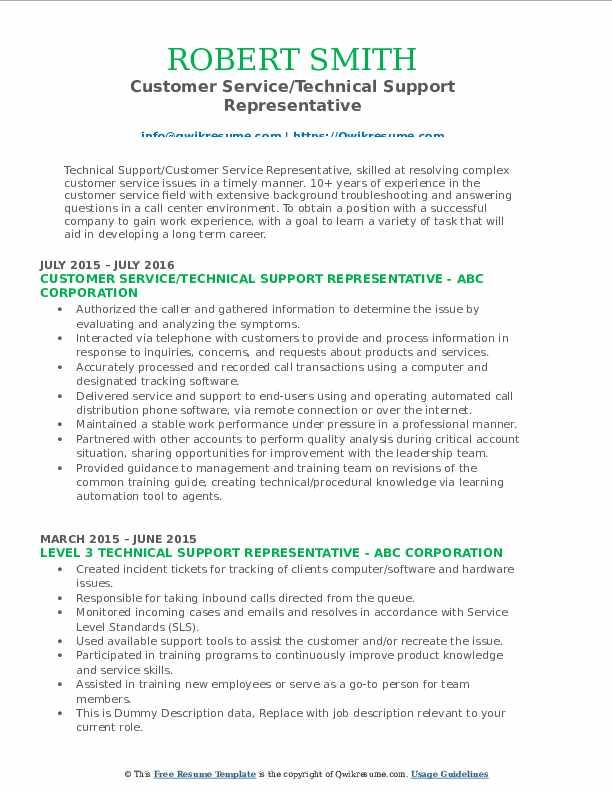 Customer Service/Technical Support Representative Resume Template