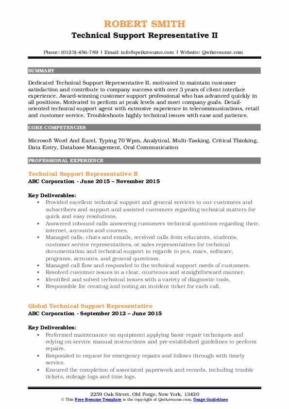 Technical Support Representative II Resume Sample