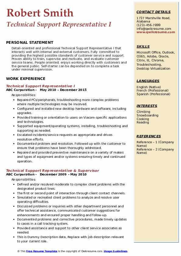 Technical Support Representative I Resume Format