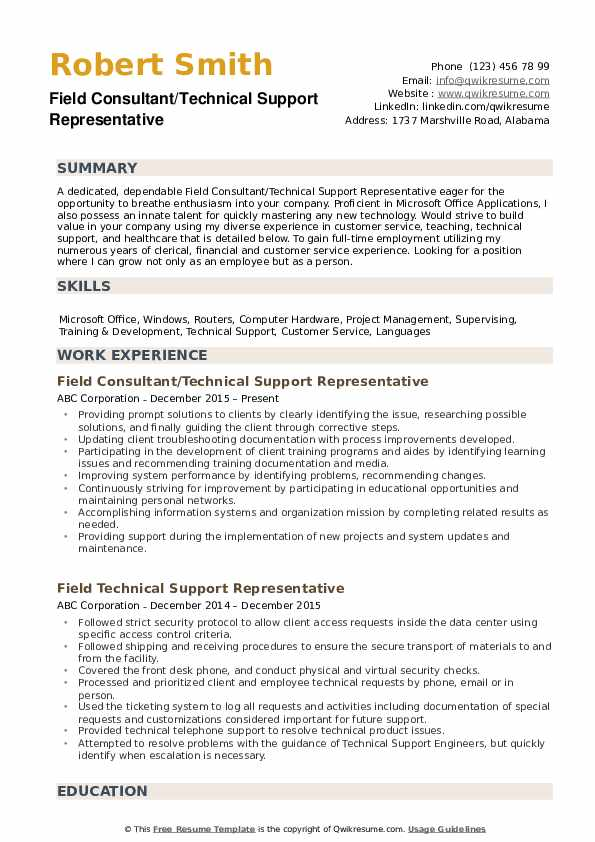 Technical Support Representative Resume example